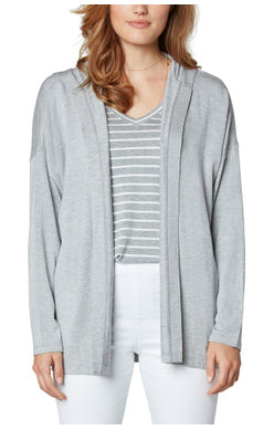 Drop Shoulder Cardigan With Hood
