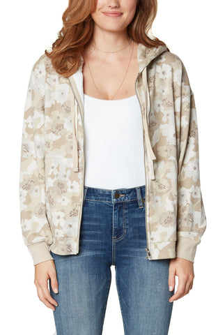 Liverpool Relaxed Zip Up Hoodie In Sand Flower Camo