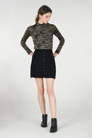Lili Sidonio by Molly Bracken Camo Mock Neck Top