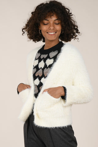 Molly Bracken Textured Open Neck Cardigan