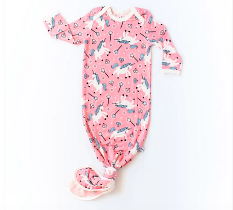 Little Sleepies Unicorns Bamboo Infant Knotted Gown