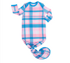 Little Sleepies Rosy Plaid Bamboo Infant Knotted Gown