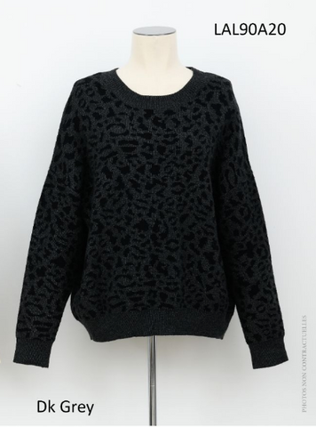Lili  Sidonio By Molly Bracken Leopard Print round Neck Sweater
