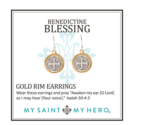 My Saint My Hero Benedictine Blessing Earrings