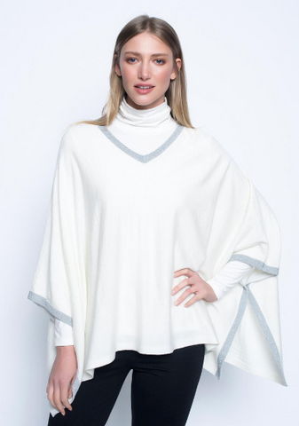 Picadilly Metallic Trim Sweater Knit Poncho in Deep Navy or Off-White