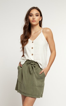 Dex Tie Waist Skirt in Olive