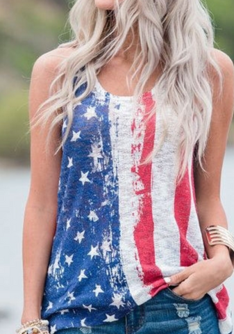 4th of July Top American Flag Tank