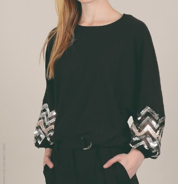 Molly Bracken Knitted Sweater with Sleeve Detail