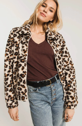 Z Supply Leopard Sherpa Crop Jacket