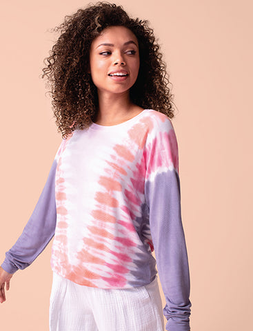 Tribal Long Sleeve Tie-Dye Crew Neck Top