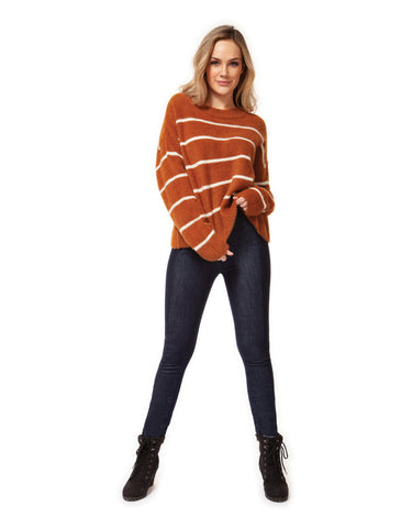 Dex Scoop Neck Sweater in Camel Stripe