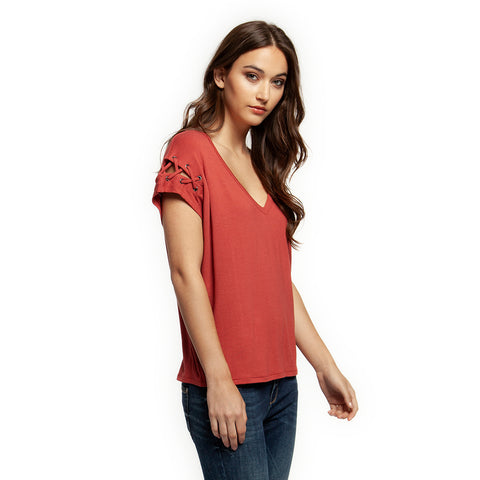 Dex V-Neck Top with Sleeve Detail