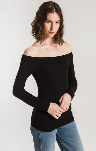 Z Supply Long Sleeve Off The Shoulder Top