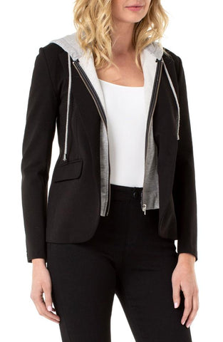Liverpool Fitted Blazer with Removable Hood in Super Stretch Ponte