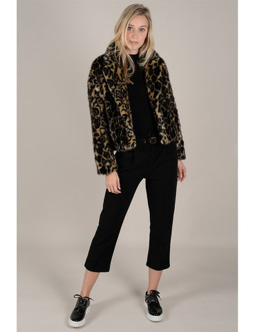 Molly Bracken Premium Leopard Faux Fur Jacket