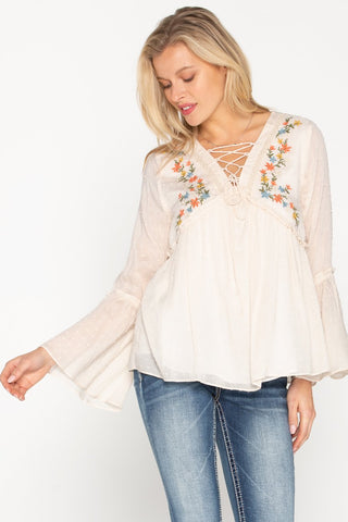 Miss Me Floral Embroidered Lace Up Top