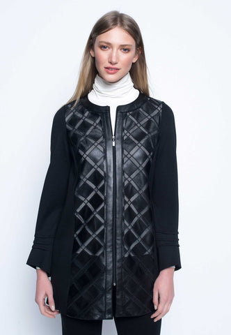 Picadilly Zip Front Long Jacket in Black