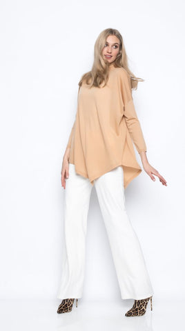 Picadilly Turtleneck Top with Asymmetrical Hem