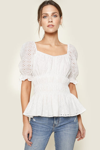 Sugarlips Eyelet Smocked Top