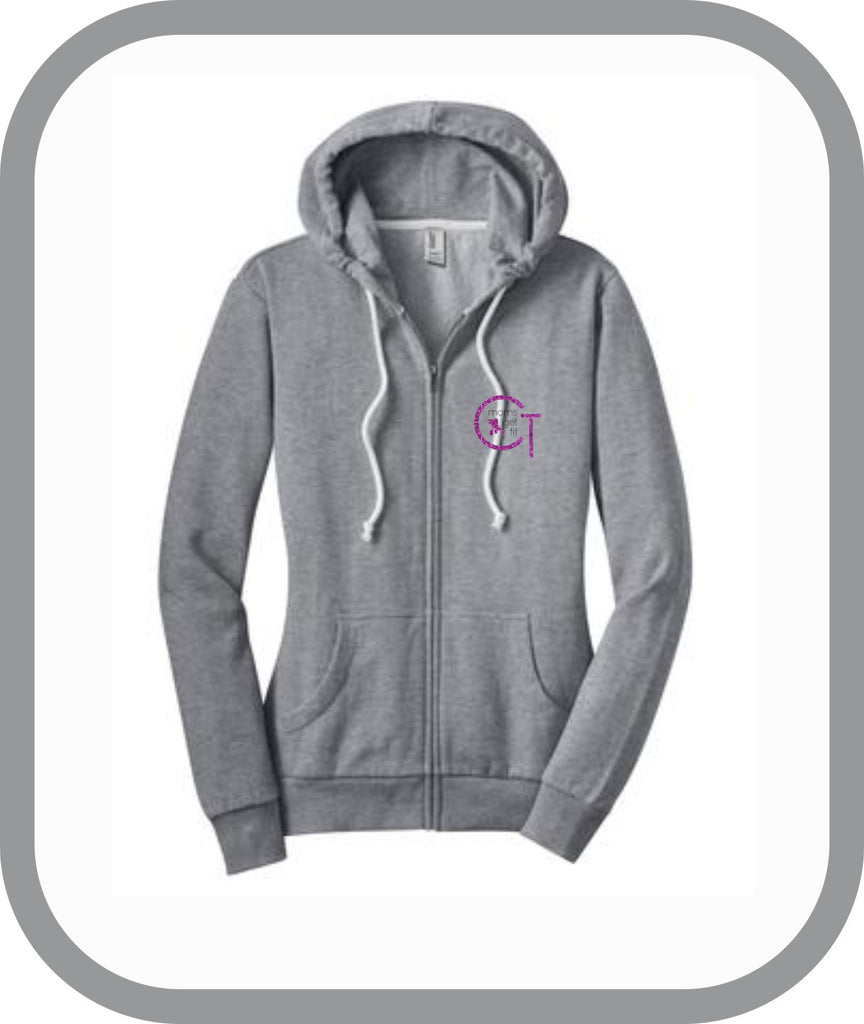 Moms Get Fit - Ladies Zip Up Hoodies (Front Logo)