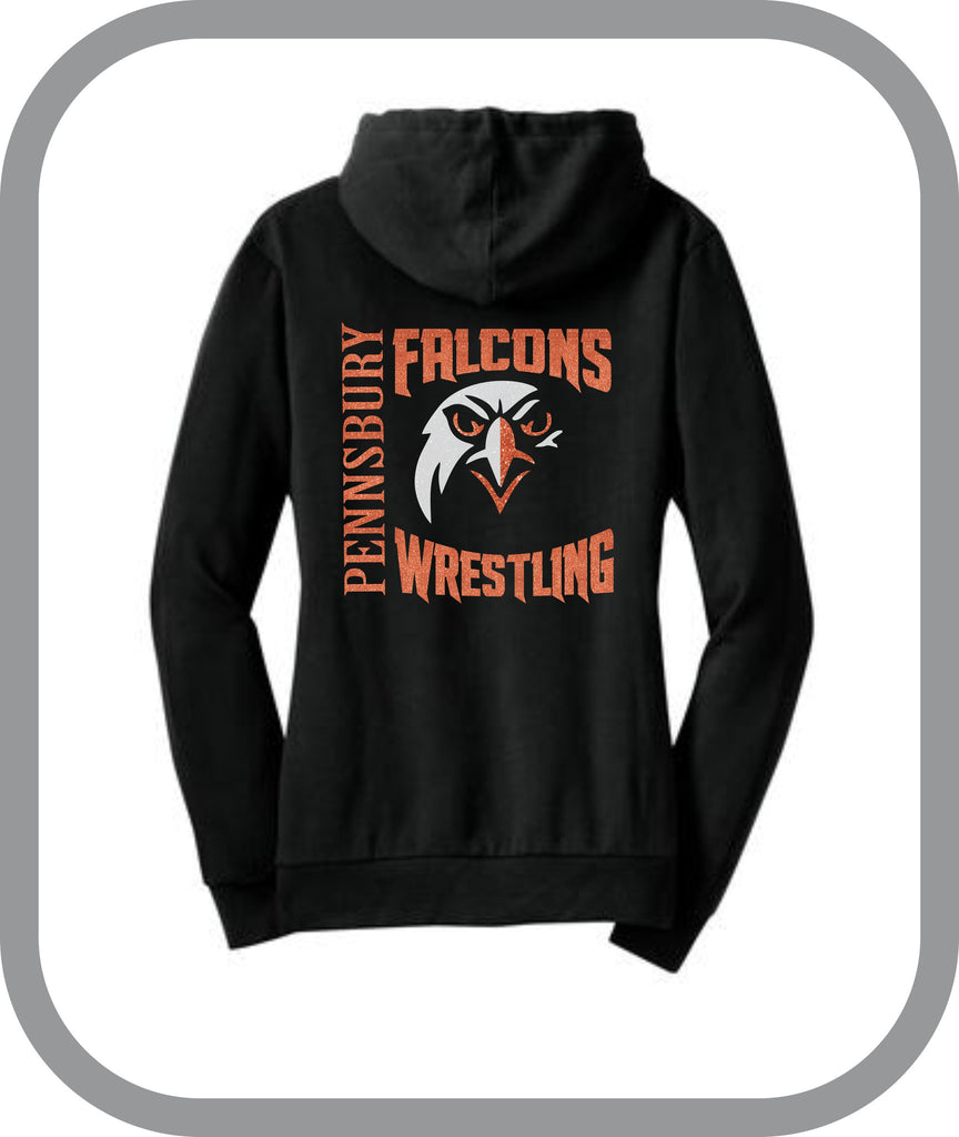 Falcons Wrestling - Ladies Zip Up Hoodie with choice of design