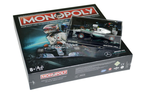 Mercedes Monopoly Silver Arrows Edition + Minichamps 1/43 Lewis Hamilton Race Car