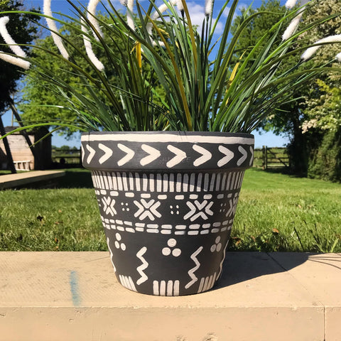 Painted terracotta plant pot