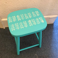 Stencilled stool using Fusion Mineral Paint