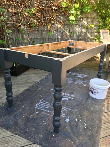 Table base painted in Ash Fusion Mineral Paint