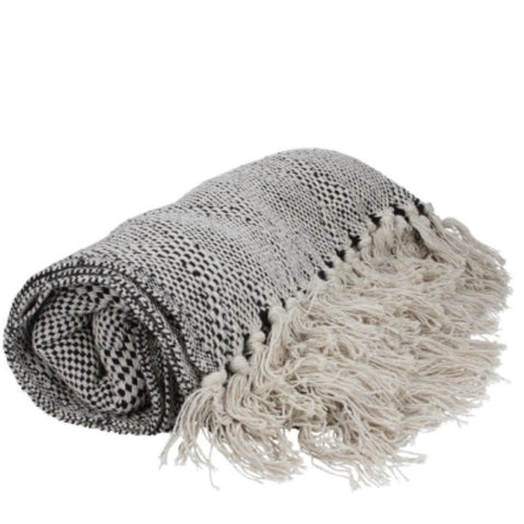 Black and natural cotton throw