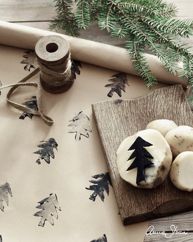 Annie Sloan Chalk Paint Potato Print Christmas Wrapping Paper