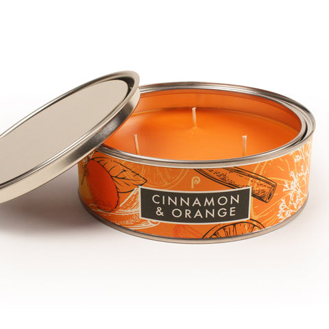 Orange & Cinnamon candle in a tin