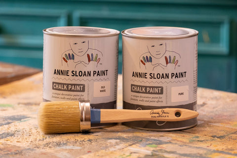 Annie Sloan Old White and Pure White tins La Di Da Interiors, Andover, Hampshire