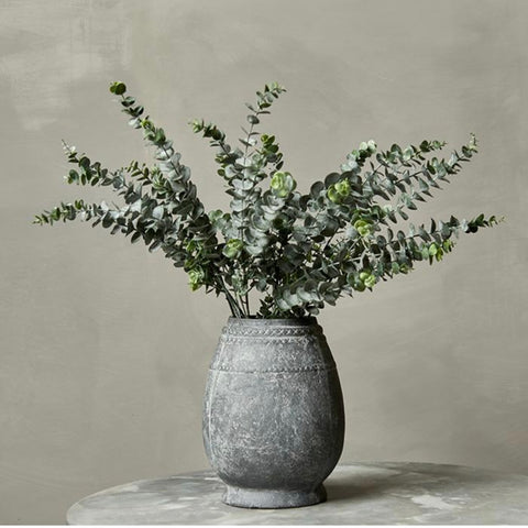 Faux Eucalyptus in a rough textured vessel