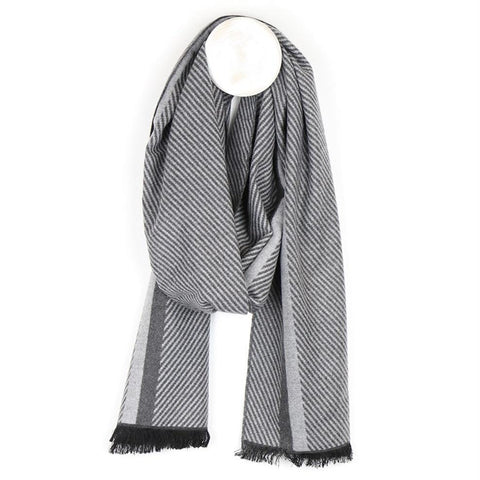 Herringbone Men's Grey Scarf