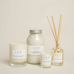 La Di Da Candles, diffuser, bath salt selection