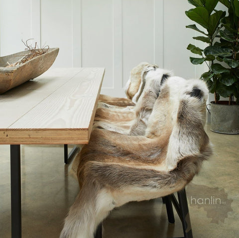 Reindeer Skins on a bench scandinavia style