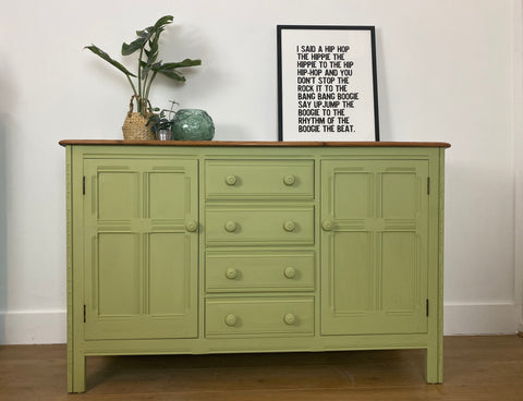 Refinished Ercol Sideboard painted in Kelp Green