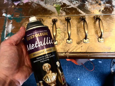 Rutoleum Metallic Gold Spray paint handles