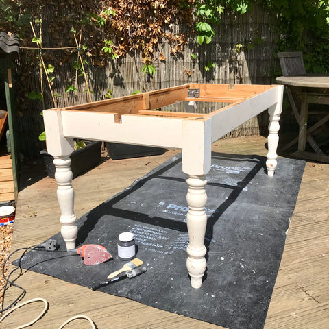 Table base before applying Fusion Mineral Paint