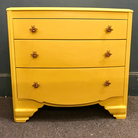 English Yellow Chest of Drawers with Bee Handles