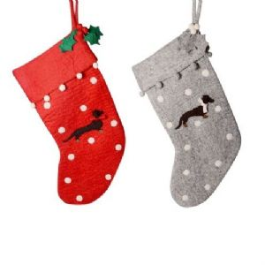Wool Felt Dog Christmas Stocking