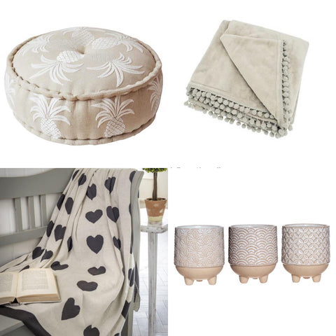 Neutral coloured accessories for living rooms