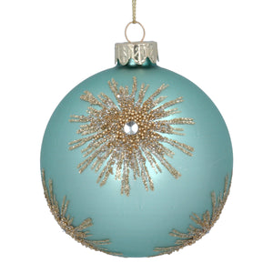 Turquoise Glass Bauble with Gold Beaded Starburst