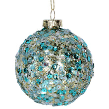 Load image into Gallery viewer, Turquoise Blue & Pale Gold Sequinned Bauble