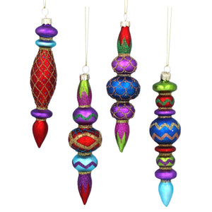 Boho Multicoloured Glass Finial Tree Decoration Set of 4