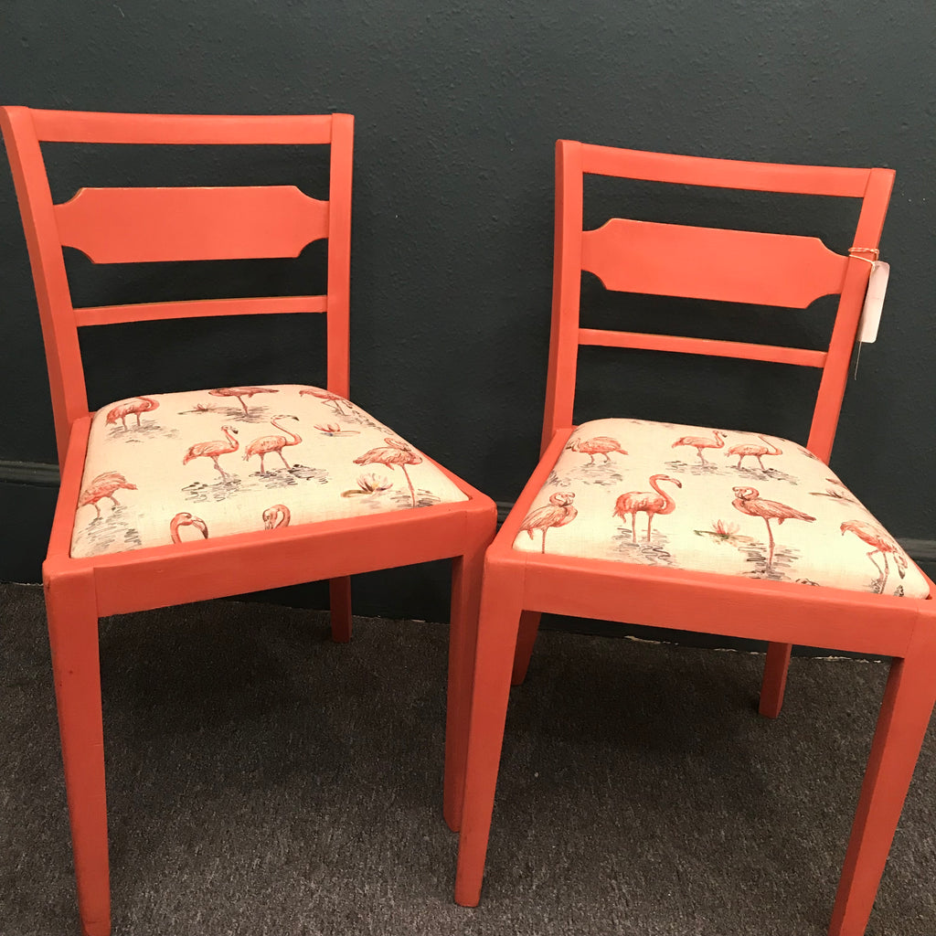 Upcycled flamingo chairs - Pinky & Perky SOLD - La Di Da Interiors
