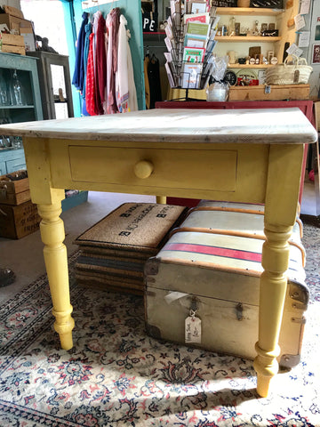 Buttercup Yellow vintage farmhouse table SOLD
