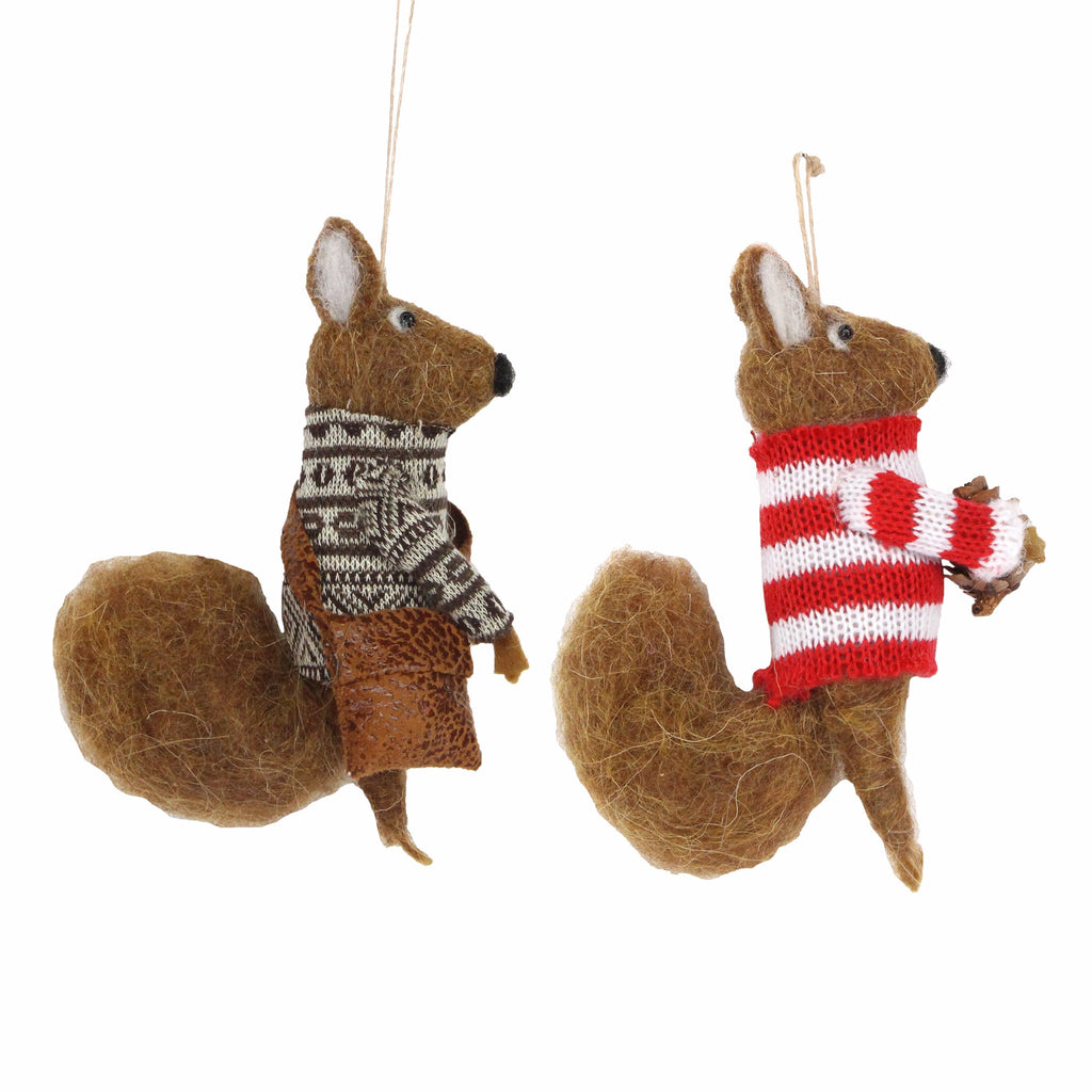 Wool Christmas Squirrel Tree Decorations