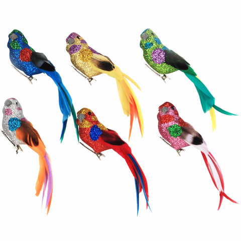 Multi Coloured Glitter Clip on Birds